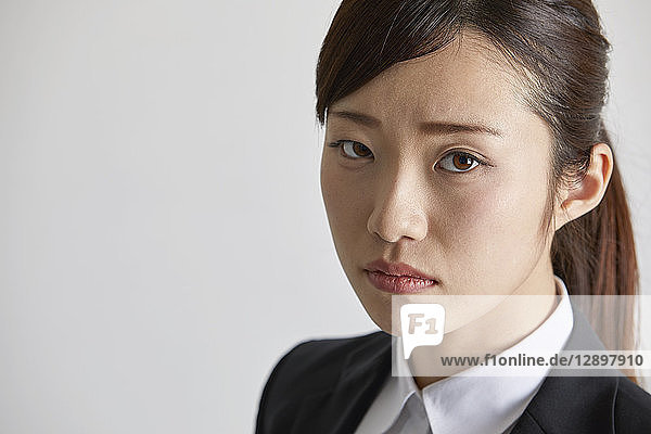 Japanese businesswoman on white background