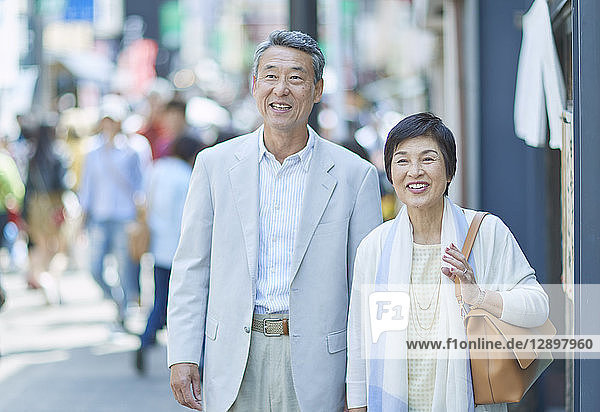 Japanese senior couple shopping