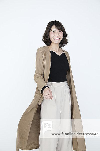 Japanese woman on white background