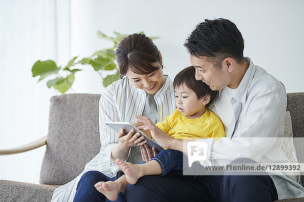 Japanese family on the sofa