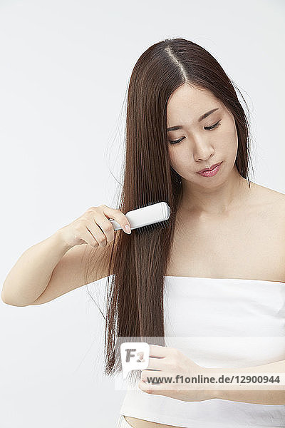 Japanese woman with silky hair