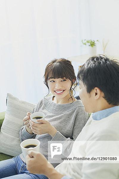 Japanese couple on the sofa