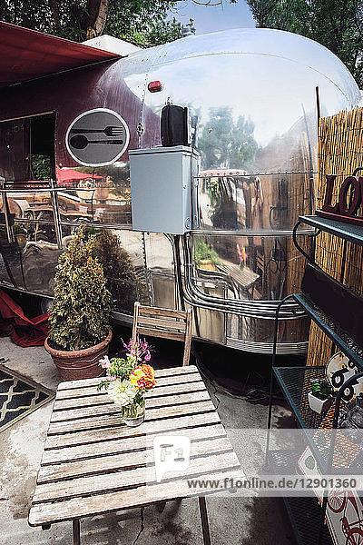 Vintage camper van food truck
