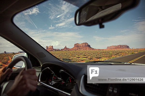 Tourist driving  Grand Canyon  Arizona  USA