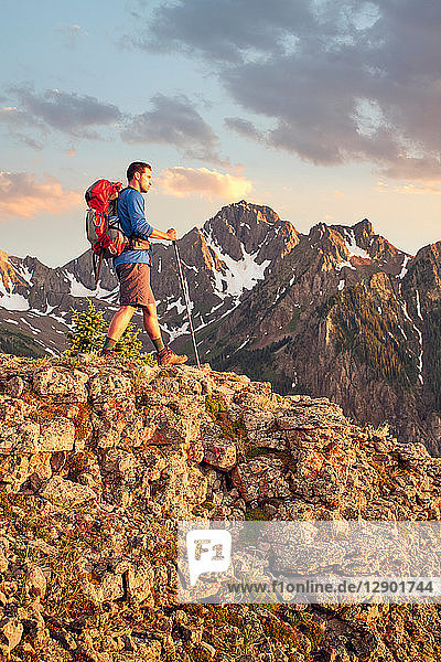 Man hiking  Mount Sneffels  Ouray  Colorado  USA
