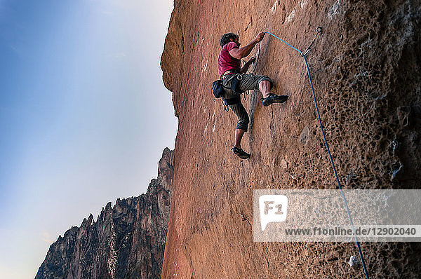 Man rock climbing  Smith Rock State Park  Oregon  USA