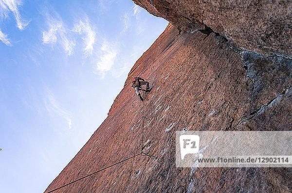 Man rock climbing,  Smith Rock State Park,  Oregon,  USA