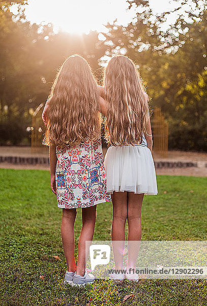 Rückansicht von Mädchen im Park