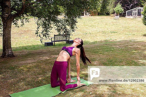 Frau praktiziert Yoga im Garten  bückt sich nach hinten