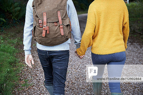 Hiker couple walking in countryside