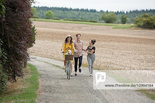 Freunde laufen mit dem Fahrrad durch die Landschaft Freunde laufen mit dem Fahrrad durch die Landschaft