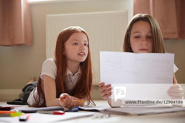 Girls doing homework