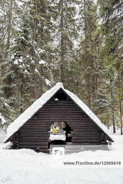 Finland  Kuopio  woman preparing campfire in winter
