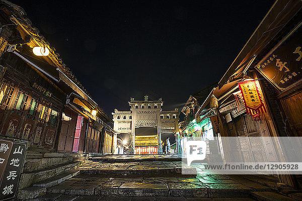 China  Qinyang  Ancient Town  city gate at night