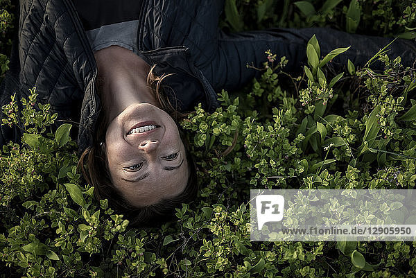 Top view of happy woman lying in a field