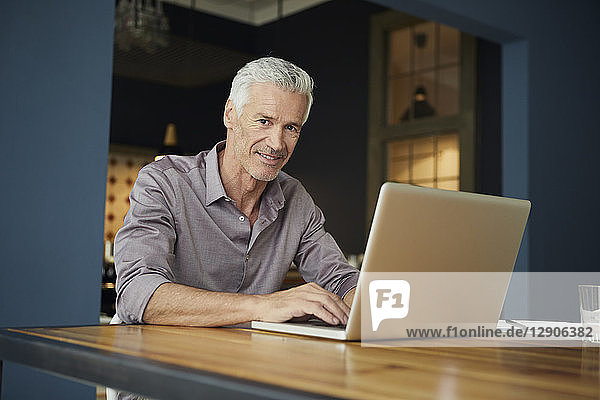 Portrait of mature man using laptop on table at home