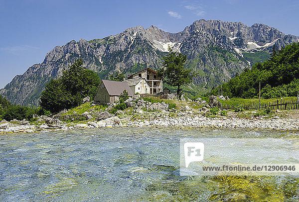 Albania  Kukes County  Albanian Alps  Valbona National Park  Kukaj river  settlement Kukaj