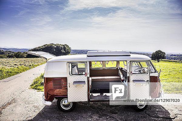 Van parked in rural landscape