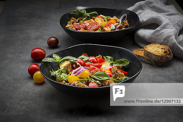 Panzanella made of roasted Ciabatta  rocket  red onions  tomatoes and basil