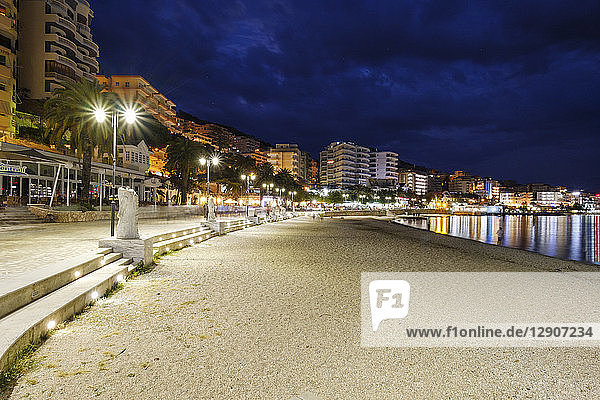 Albania  Vlore County  Saranda  beach at blue hour