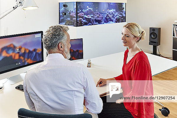 Two colleagues talking at desk in office