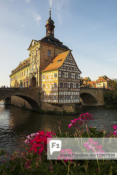 Germany  Bavaria  Upper Franconia  Bamberg  Old townhall  Obere Bruecke and Regnitz river