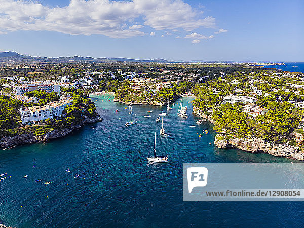 Spain  Mallorca  Portocolom  Aerial view of Cala d'Or and bay Cala Ferrera