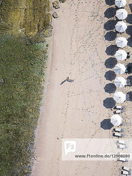 Indonesia  Bali  Aerial view of Balngan beach  surfer at the beach
