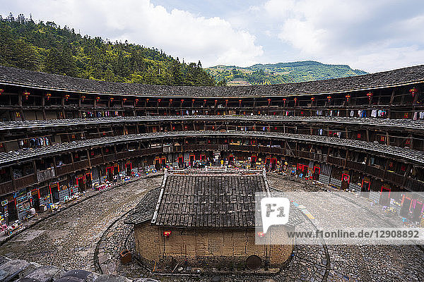 China  Fujian Province  inner courtyard of a tulou in a Hakka village