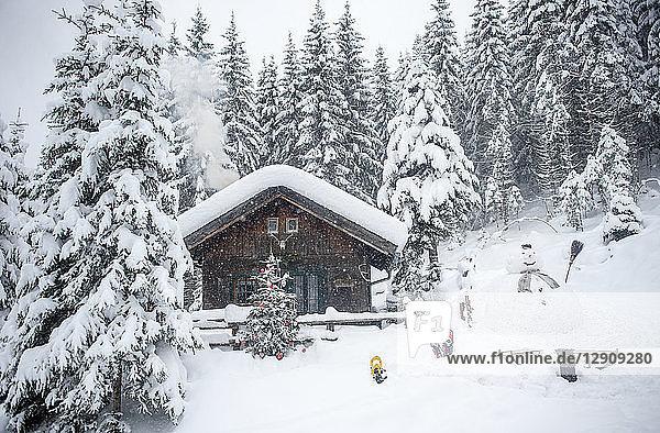 Austria  Altenmarkt-Zauchensee  snowman  sledges and Christmas tree at wooden house in snow
