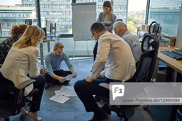 Business team having a workshop in office
