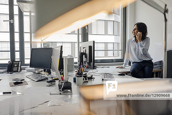 Mature businesswoman sitting o desk in office  talking on the phone