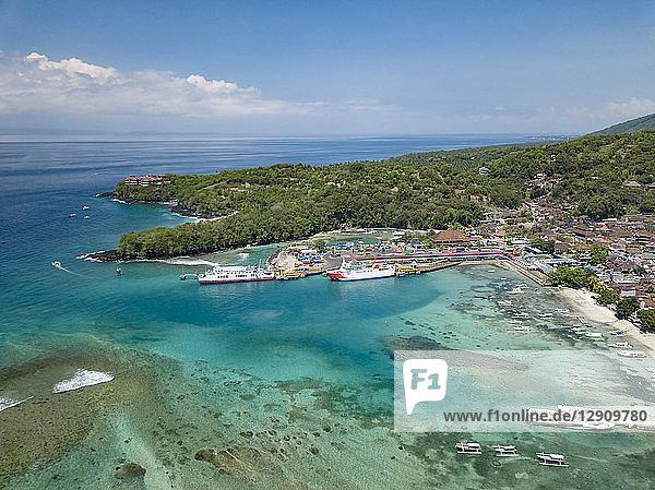 Indonesia  Bali  Aerial view of Padangbai  bay  beach