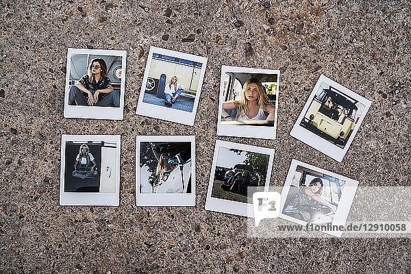 Instant photos of young women with car
