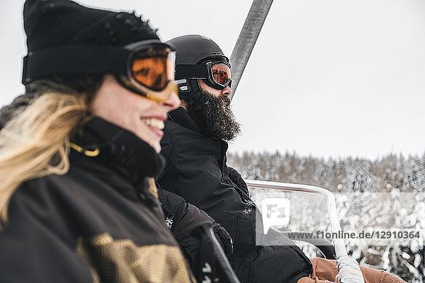 Italy  Modena  Cimone  couple in a ski lift