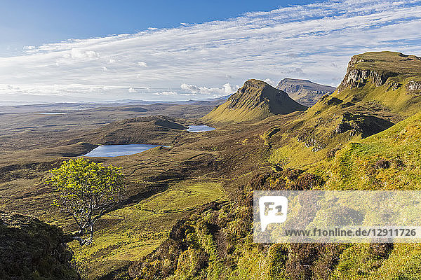 UK  Scotland  Inner Hebrides  Isle of Skye  Trotternish  morning mood above Quiraing  view towards Loch Cleat