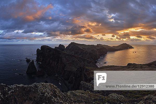 Portugal  Madeira  Sunset at the coast near Ponta de Sao Lourenco at sunrise