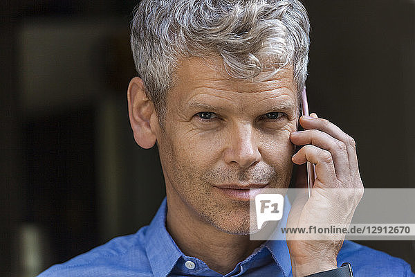 Portrait of mature businessman with grey hair on the phone