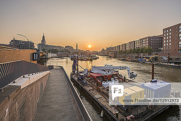 Germany  Hamburg  Inland harbour in the morning