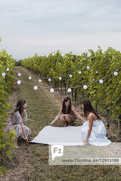 Friends spreading picnic blanket in decorated vineyard