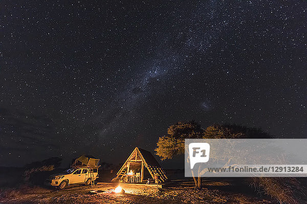 Africa  Botswana  Kgalagadi Transfrontier Park  Mabuasehube Game Reserve  Camping ground under starry sky