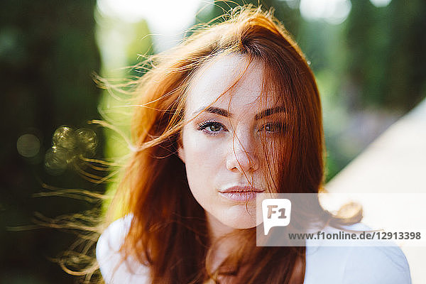 Portrait of young redheaded woman