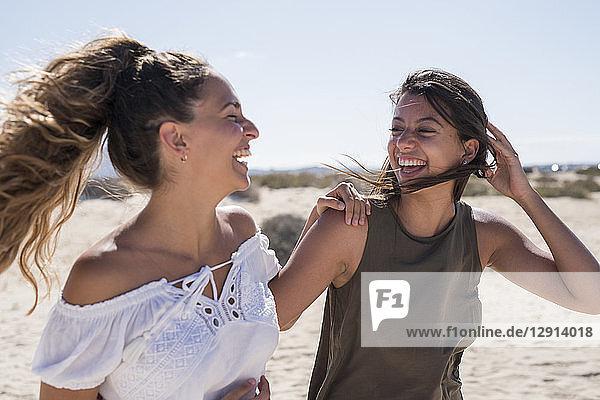Friends walking on the beach  talking