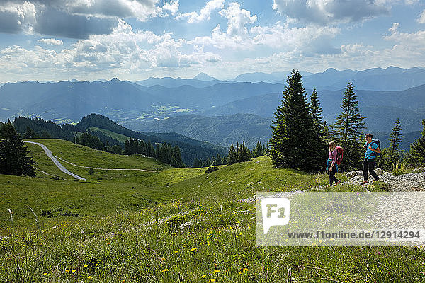 Germany  Bavaria  Brauneck near Lenggries  young couple hiking in alpine landscape