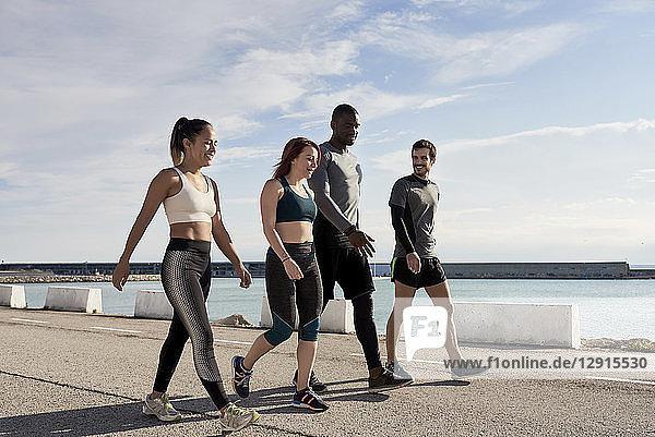 Group of sportspeople walking