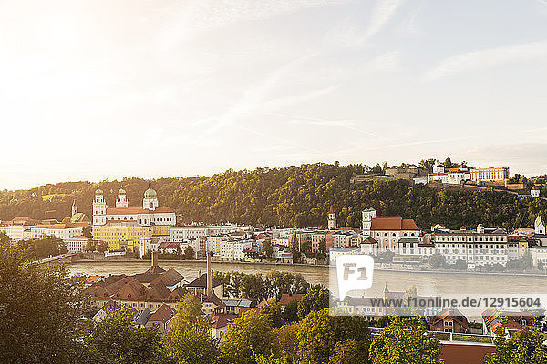 Germany  Bavaria  Passau  View of Fortress Oberhaus  St. Stephen's Cathedral and Inn River