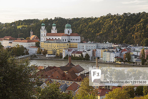 Germany  Bavaria  Passau  St. Stephen's Cathedral and Inn River