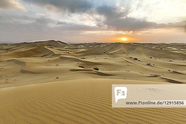 Iran  Isfahan Province  Varzaneh  Varzaneh Desert  Varzaneh sand dunes at sunset