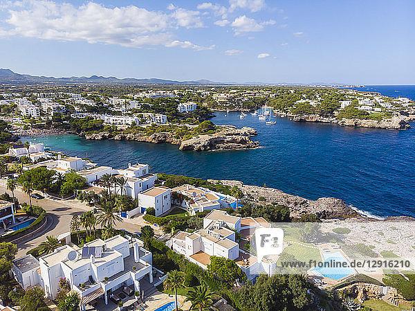 Spain  Mallorca  Portocolom  Aerial view of Cala d'Or and bay Cala Ferrera
