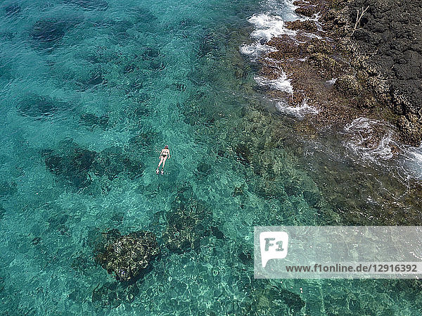 Indonesia  Bali  Aerial view of Blue Lagoon  snorkeler